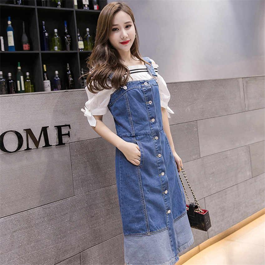 2019 корейское летнее джинсовое платье на тонких бретелях, женское однобортное платье без рукавов, сарафан размера плюс, платья для женщин s Robe Femme