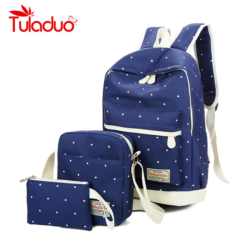 Canvas Backpack Women Dot School Bag For Teenagers Girls Preppy Style Composite Bags set Casual Travel Rucksack Female Backpacks 2pcs set preppy style canvas backpack women letter printing backpacks school bags for teenager girls schoolbag female travel bag