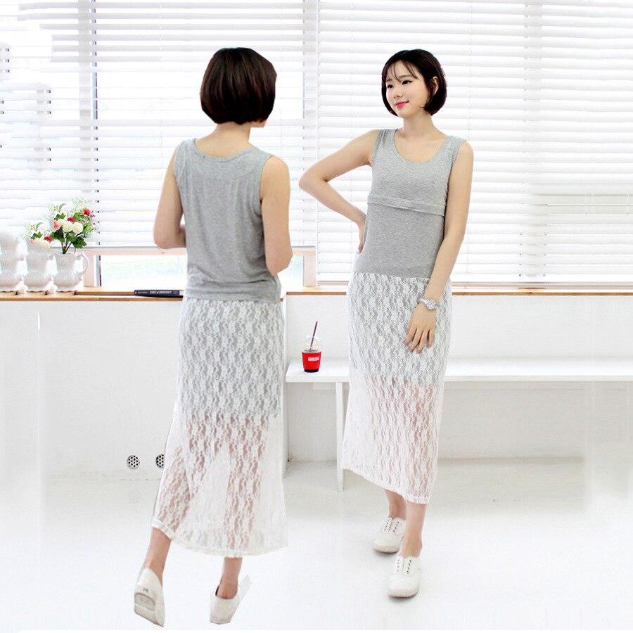 Pregnant Women Dress Plus Size Lace Patchwork Sleeveless Long Dress for Pregnancy Women Nursing Dress Breastfeeding Clothes