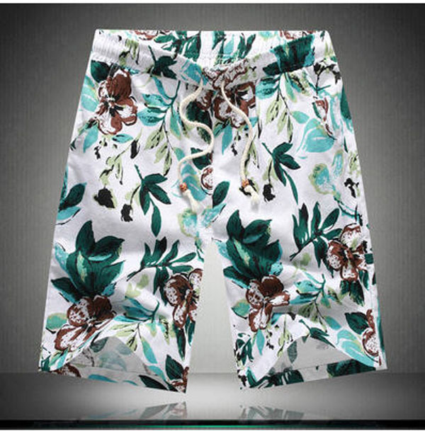 Новая Мода Лето Повседневные Брюки Свободные Мужские Бриджи Цветок Эластичный Пояс Плюс Размер Хлопок Пляжные Шорты Пляжные Брюки М/5Xl S2060