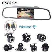 GSPSCN Auto Nachtzicht Omkeren Backup Camera + 4.3 inch Auto Lcd Achteruitkijkspiegel Monitor met Draadloze Zender Ontvanger