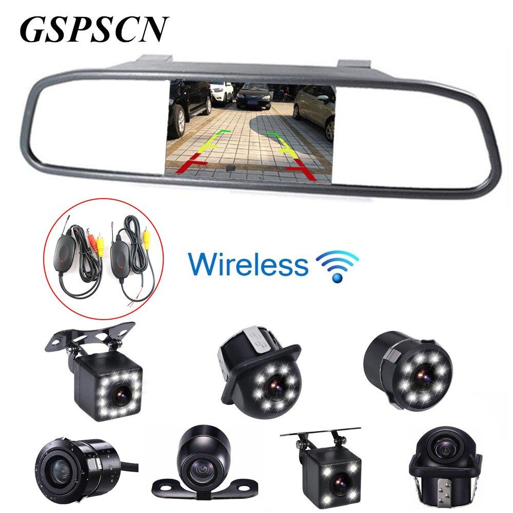 GSPSCN Car Night Vision Reversing Backup font b Camera b font 4 3 inch Car Lcd