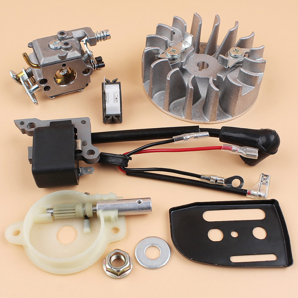 Flywheel Ignition Coil Carburetor Carb Oil Pump Kit For HUSQVARNA 137 142 Chainsaw Parts Zama C1Q-W29E