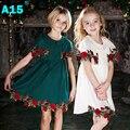 A15 Дети Девушки Бутик Платье 2017 Лето Малышей Принцесса Цветок Платье для Свадьбы Девочка Белое Платье 8 10 12 14 год