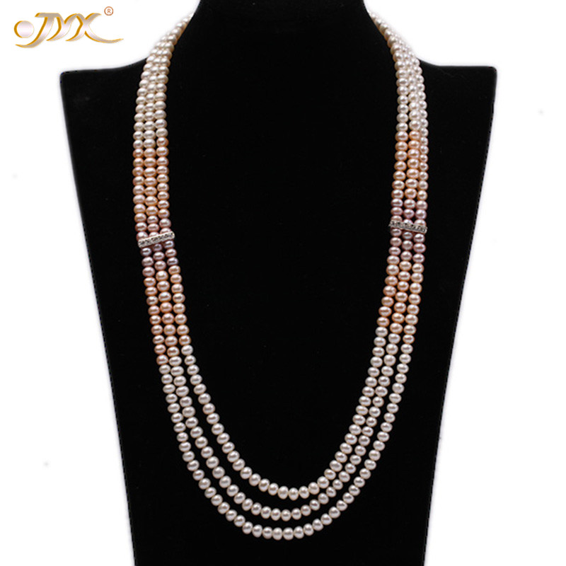 JYX Fine Pearl Long Necklace Multi-Strand White Pink and Purple Flat Freshwater Pearl Necklac for Women 28-30 Christmas jewelryJYX Fine Pearl Long Necklace Multi-Strand White Pink and Purple Flat Freshwater Pearl Necklac for Women 28-30 Christmas jewelry