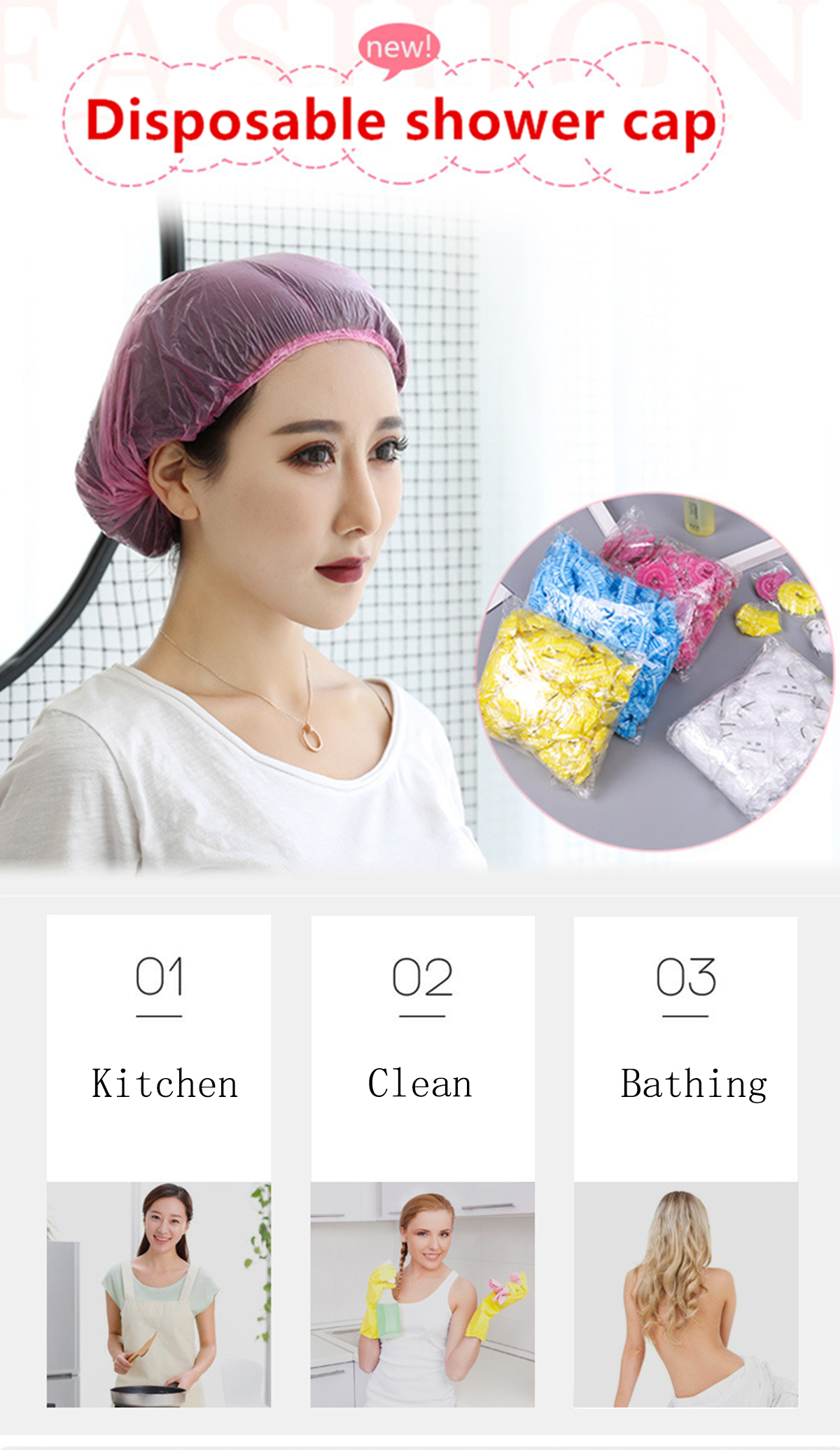 Bath & Shower Well-Educated High Quality 100pcs Elastic Transparent One-off Shower Hair Cap Cover Bath Salon Spa Hat Hotle Bathroom Accessories Disposable Buy One Get One Free Beauty & Health
