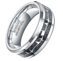 8MM Men's Tungsten Carbide Rings with Carbon Fiber Inlay Heartbeat Cardiogram Women Jewelry Wedding Band Comfort Fit
