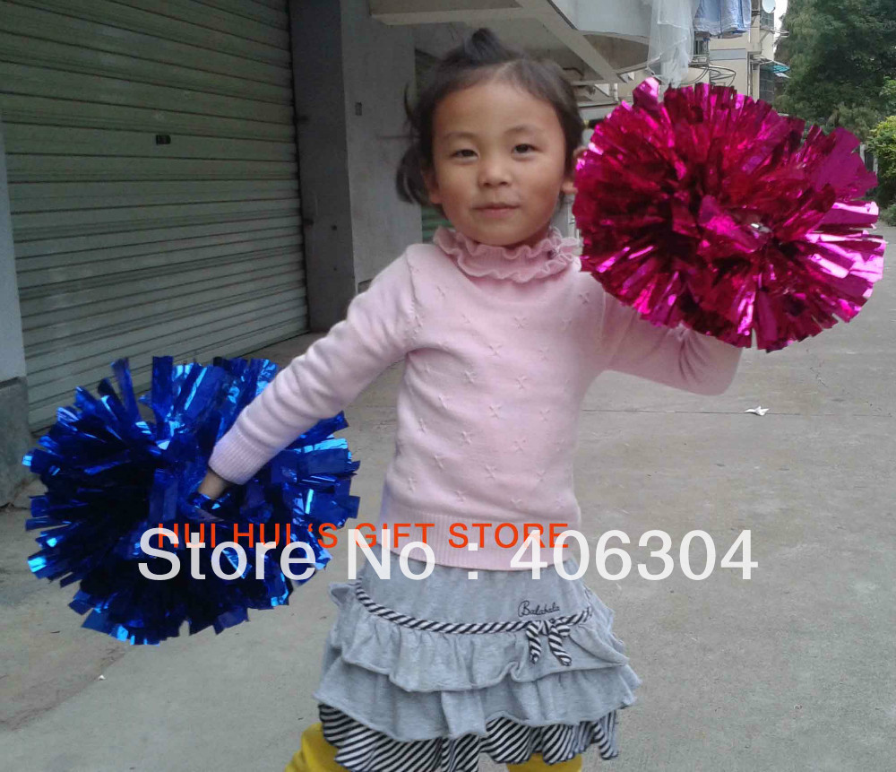 Free Shipping.50g metallic Pompom,Cheering pom pom with baton handle,red,pink,green,blue.gold ,silver.suitable for children