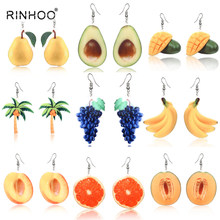 3ecf9583a Rinhoo Cute Fruit Earrings Banana Peaches Pear Kiwi Orange Cucumber Dragon  Apple Pineapple Fruit Dangle Hook Earrings Jewelry