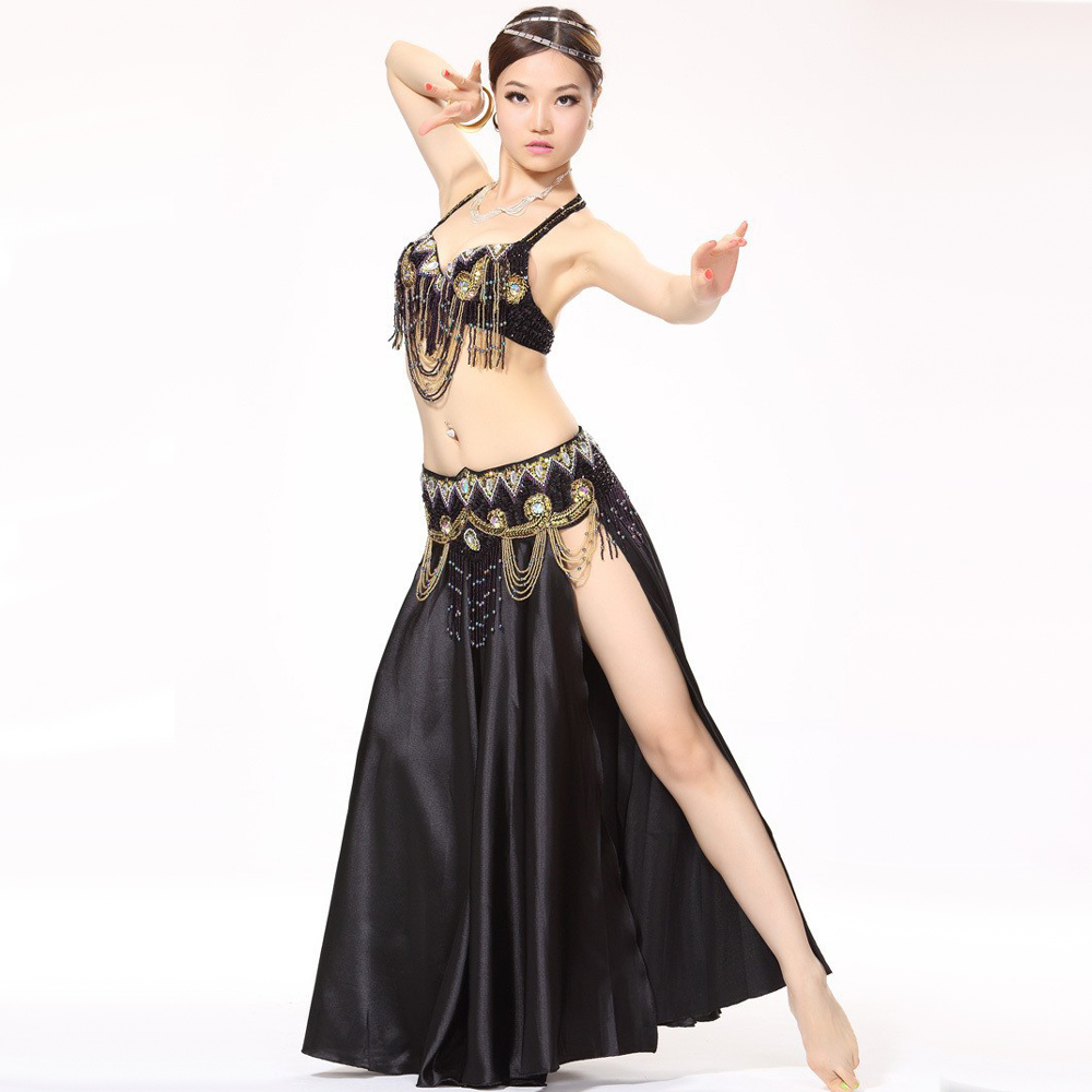 Bollywood danse Costumes 3 pièces soutien-gorge & ceinture & jupe dame robes indiennes femmes Performance Stagewear Bellydance Costume professionnels