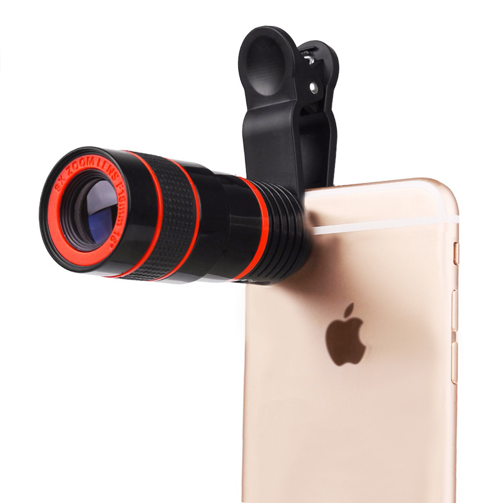 Round Shape 8X Telescope Lens Clip On Photography For Cell Phone SmartPhone iPhone