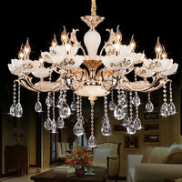 Large Crystal Chandelier 15 Arms Luxury Crystal Light Fashion Chandelier Crystal Light Modern Large Chandeliers