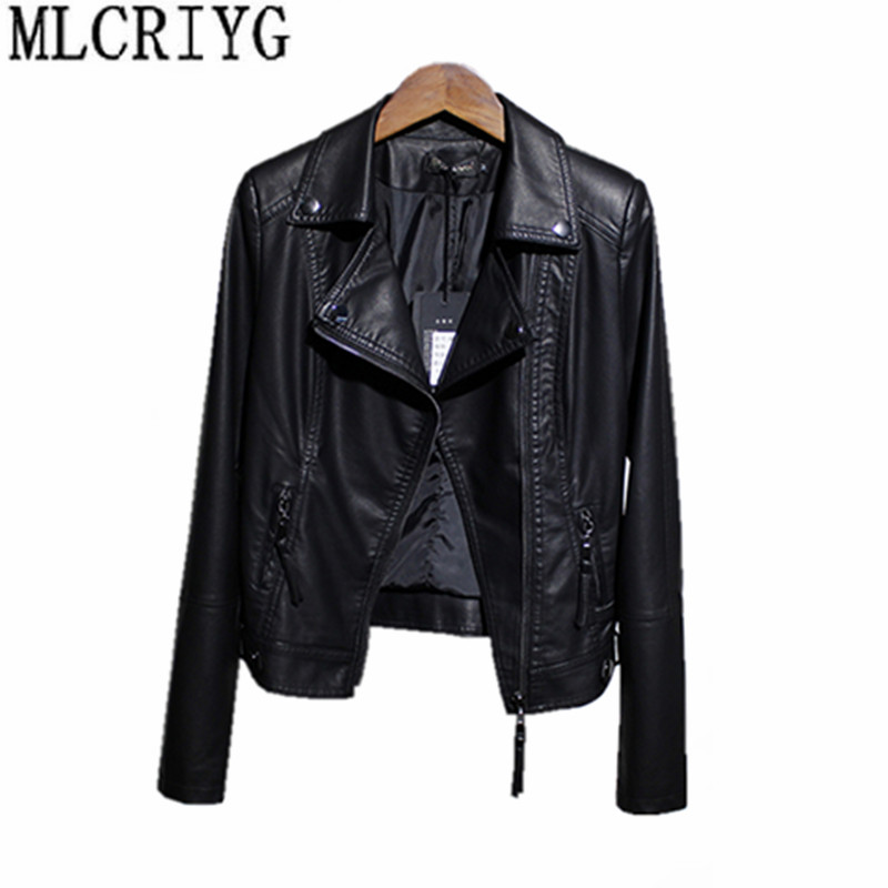 MLCRIYG Faux   Leather   Jacket Female Spring Autumn 2019 Short Zippers Ladies Jackets Motor Black PU   Leather   Coats For Women YQ256