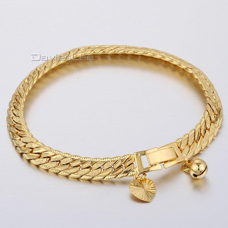 df3c60413db1 7mm 20 cm para mujer para hombre pulsera de oro amarillo lleno de cerca la  martillado enlace w corazón Bell pulsera de encanto de regalo al por mayor  LGB374 ...
