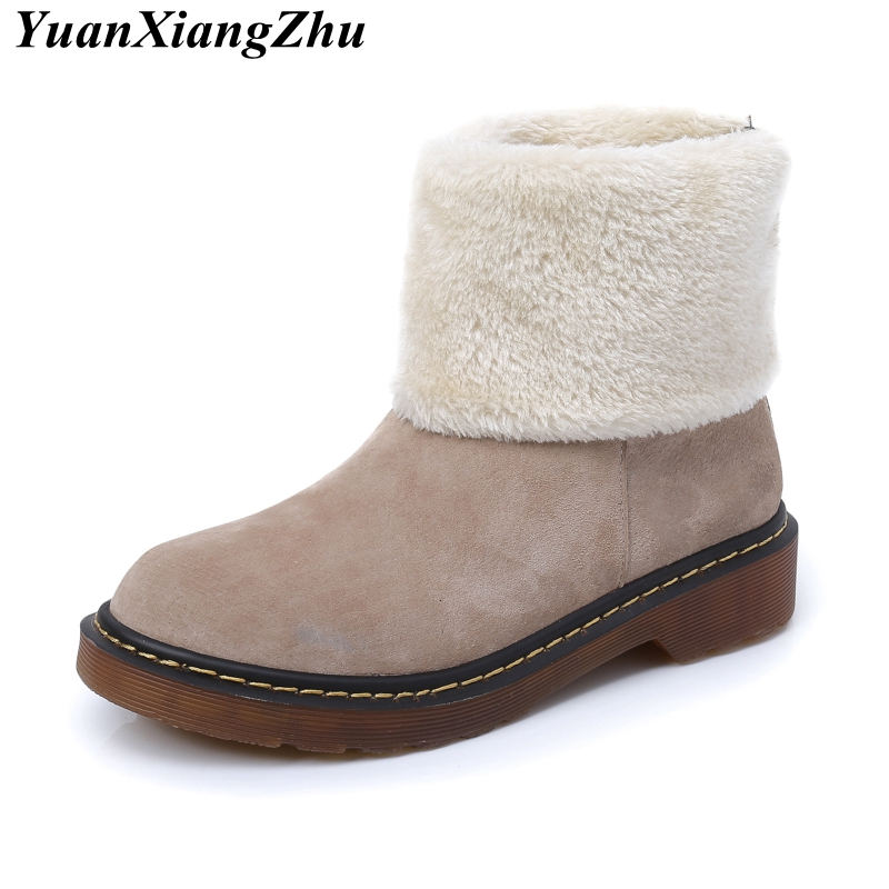 Women's Winter Snow Boots Woman Genuine Leather Ankle Boot Flat Warm Cotton Down Shoes Woman Winter Boots Female Plus Size 34-43 winter snow boots woman platform ankle boot warm cotton down shoes women s winter snow boots female winte boots