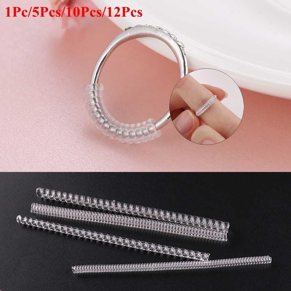 1/5/10/12 pçs invisível transparente espiral anel tamanho ajustador escudo guarda dura tightener redutor redimensionar ferramentas peças de jóias