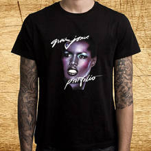 New Grace Jones Portfolio Album Logo Men's Black T-Shirt Size S-3XL(China)