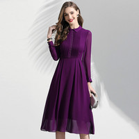 Purple Chiffon Dress Women 2019 Spring New Turn Down Collar Long Sleeves High Waist Ladies Elegant Dress Over The Knees M XXL