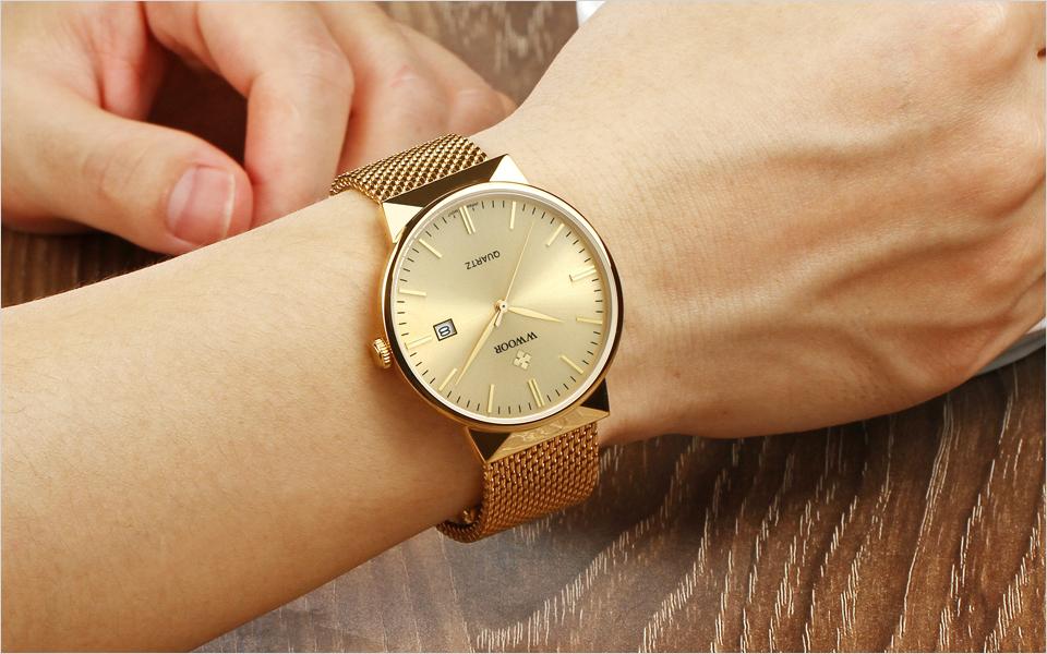WWOOR Brand Luxury Men Waterproof Stainess Steel Casual Gold Watches Men's Quartz Sport Wrist Watch Male Clock relogio masculino 13