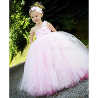 2016 New Design Pink Princess Girls Dresses Wedding Double Layer Colors Pink Rose Girls Kids Tutu