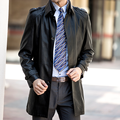 Free Shipping 2015 New Casual Leather Coat Slim Men's Medium-Long Double Collar Genuine Leather Trench Coat Sheepskin Dust Coat