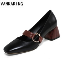 VANKARING new high heels women pupms 2018 fashion genuine leather women shoes pumps shoes woman date dress office ladies pumps