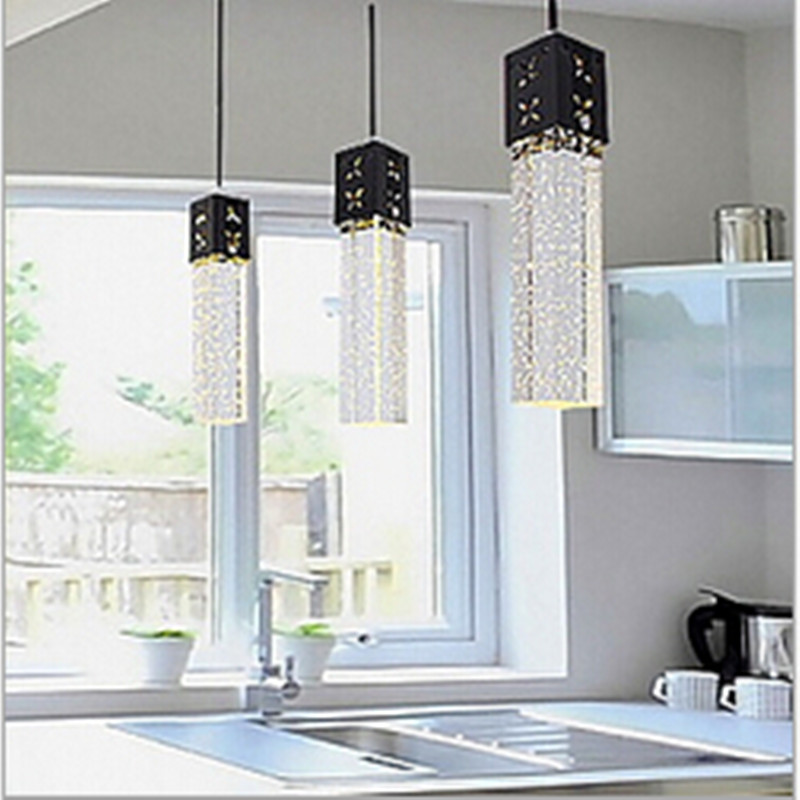 modern brief fashion bubble crystal column led 3/9w 1/3 heads white/warm white pendant lamp AC80-265V bar chandelier light 1648 free shipping european style modern luxury brief crystal candle pendant lamp with 3 heads 5 heads