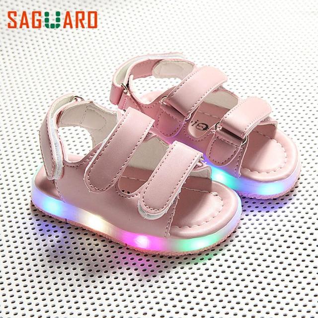acb4f4dd2fae Summer Children s Shoes 2017 Fashion LED Light Boys Girls Casual Sandals  Breathable Non-slip Kids baby Sport Beach Sandals