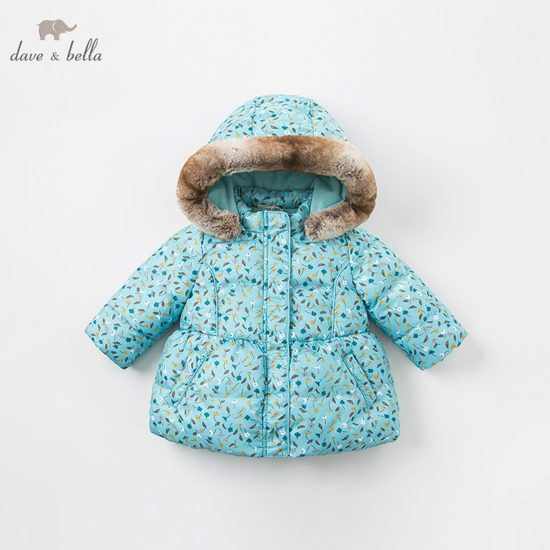 DBA8030 dave bella baby girls jacket children long sleeve outerwear fashion blue printed coat