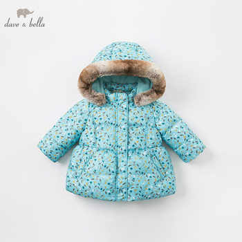 DBA8030 dave bella baby girls jacket children long sleeve outerwear  fashion blue printed coat - DISCOUNT ITEM  70% OFF All Category