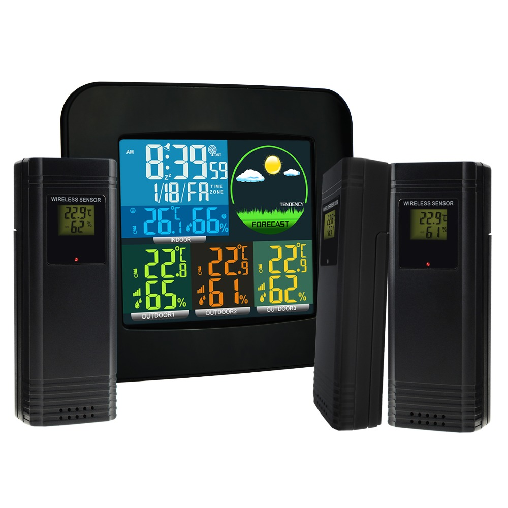 Digital Weather Station RCC MSF w/ 3 Indoor/Outdoor Wireless Sensors 6 kinds of Weather Forecast Colored LED LCD Display wave msf 1390s65f69