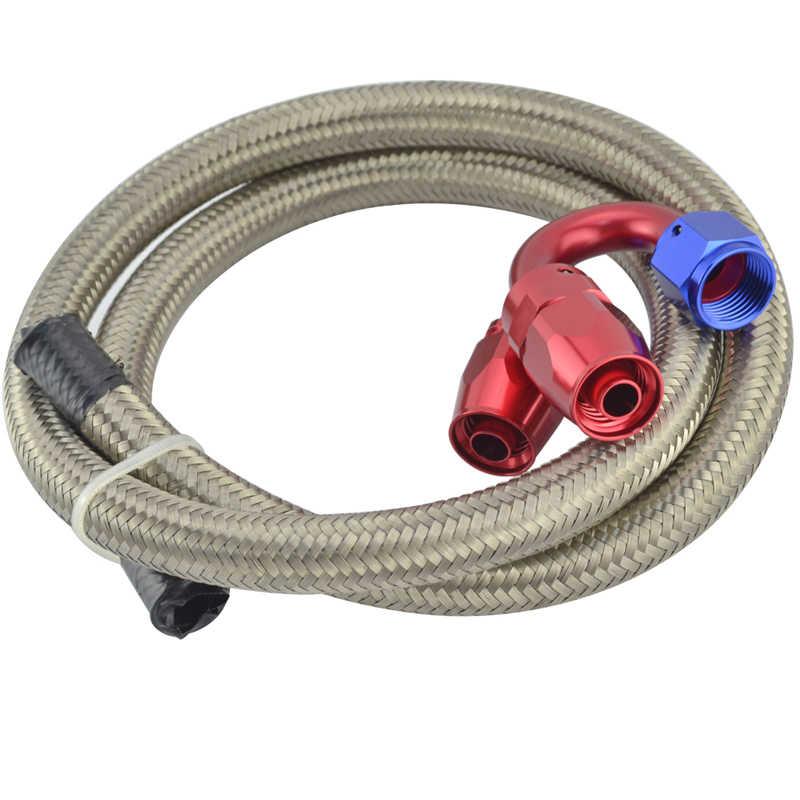 Un tuyau de tuyau de ligne d'huile/carburant tressé en acier inoxydable 6 1 mètre + droit + 180 degrés de montage Kit d'adaptateur d'extrémité de tuyau d'huile avec clé en argent