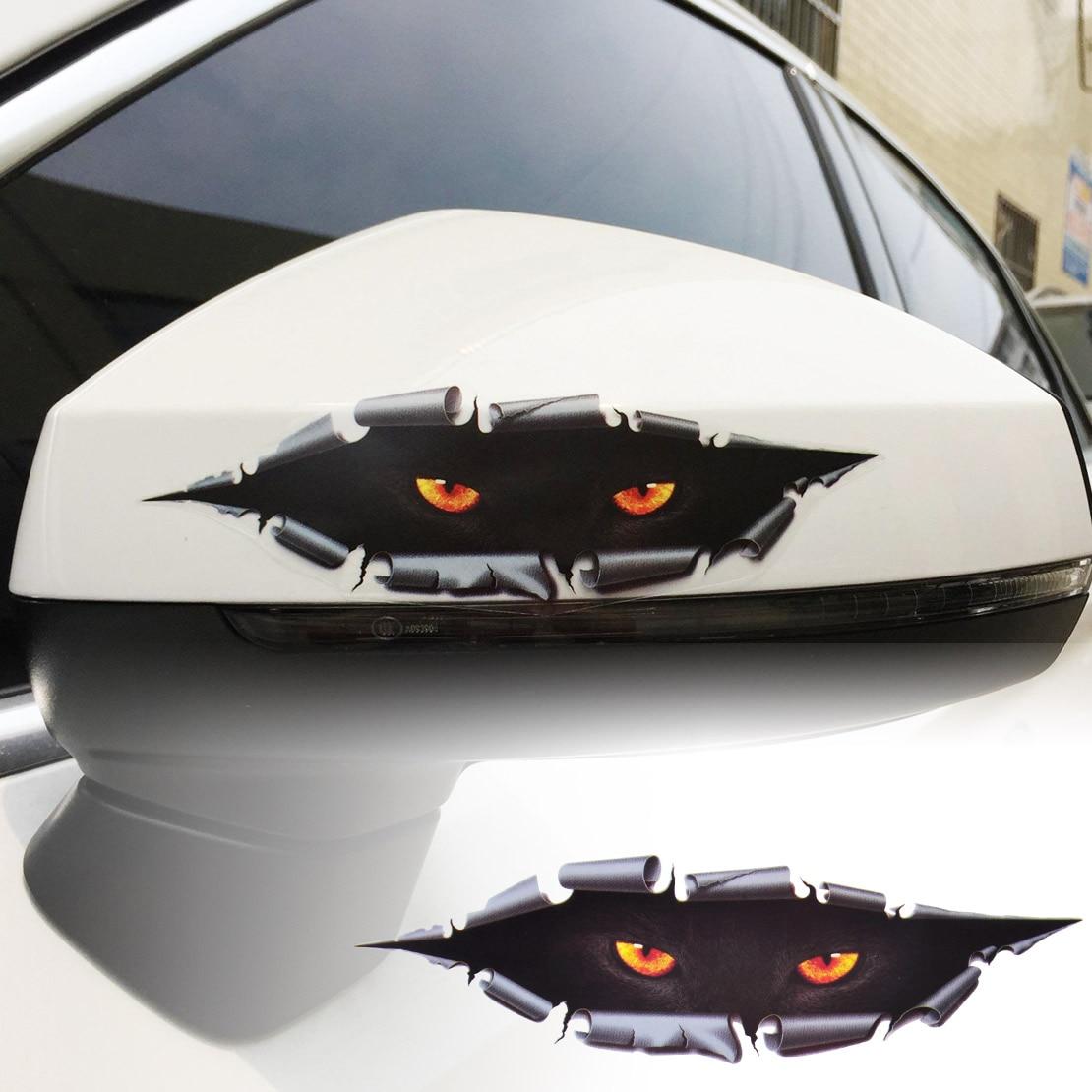beler Funny 3D Simulation Monster Leopard Eye Peeking Sticker Decal Auto Car Window Car Styling For VW Audi Ford Toyota Nissan
