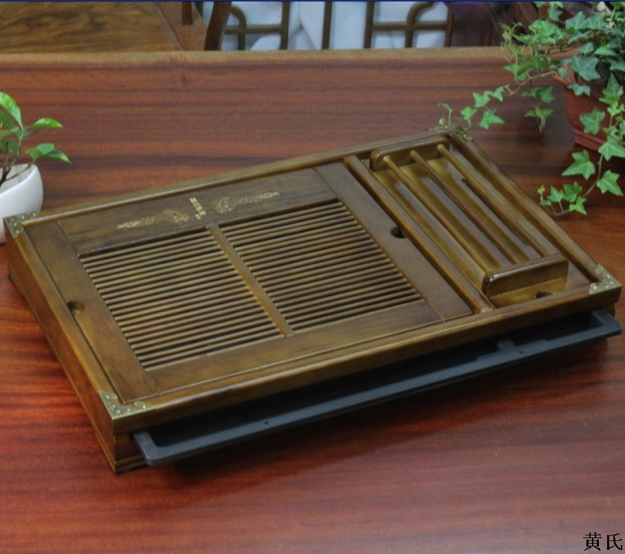 Wholesale tea solid wood tray with cup holder 54*34*7 large solid wood tea tray wholesale ru tea sets tea tea with little relief opening film ru tea travel new