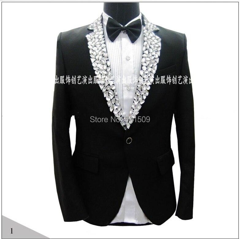 100% Reale Fotos! Mens Hand Sewing Strass Perlen Kragen Smoking-jacke Bühnen Strass Jacke Bestellungen Sind Willkommen.