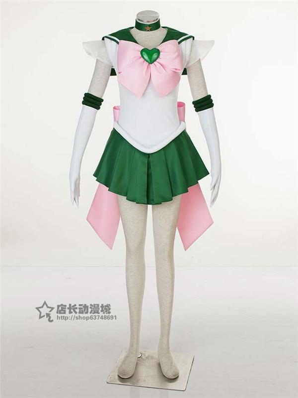 Anime Sailor Moon Sailor Jupiter Kino Makoto uniform Japanese Cosplay Costume halloween dress necklace bowknot gloves