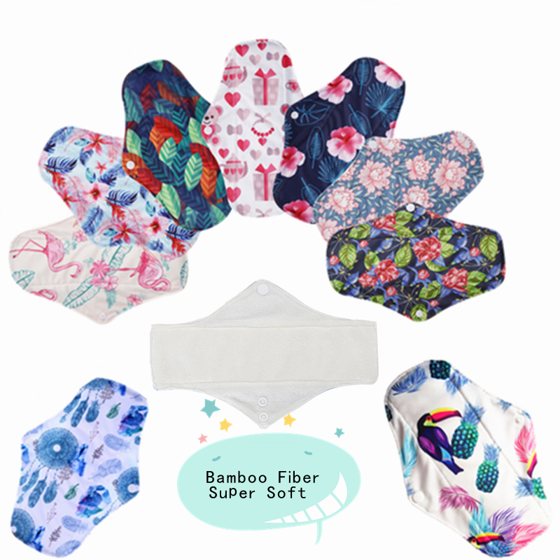 [simfamily]10PCS Bamboo Fiber Sanitary Pads Regular Flow Pads Reusable Health Higiene Feminina Menstrual Cloth Pads