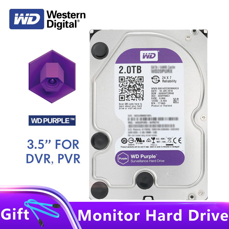 Western Digital WD Purple Surveillance HDD 3 5 2TB 5400RPM SATA 6Gb s Internal Hard Drive