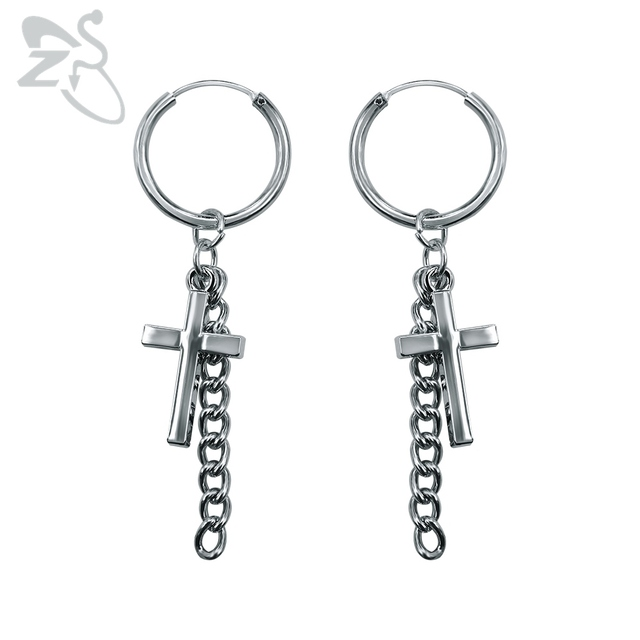 Korean G Dragon Men Tel Earrings Cross Rock Punk Gd Earring Chains Hoop Silver Round