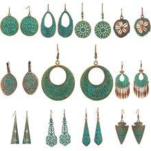 Bohemian earrings statement jewelry Exaggerated antique green metal water drop earrings for women Boho flowers tassel earring