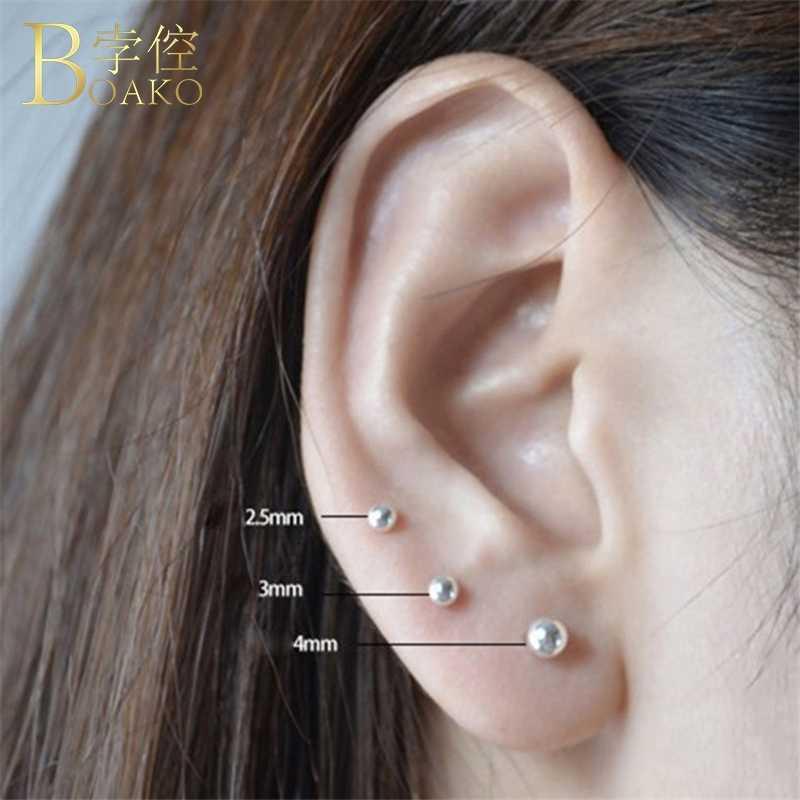 BOAKO 925 เงินสเตอร์ลิงต่างหู Tiny Ball Stud ต่างหูสำหรับสาวเจาะหูต่างหูขนาดเล็กเงิน aretes k4