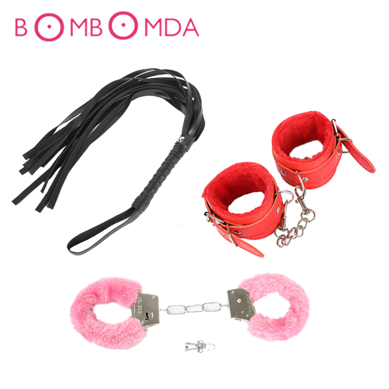 Leather BDSM Whip Plush Handcuffs Bondage Restraint SM Slave Game Hand Cuffs Flogger Adult Erotic Sex Toys For Men Women Couples