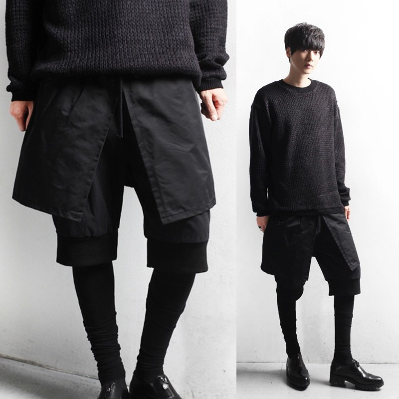 Avant Garde Design Men's Trendy Personality Culottes Hairstylist Fake Three Pieces Trousers Skinny Layered  Pencil Pants