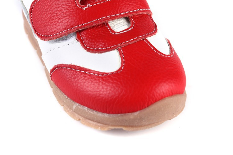 SandQ baby Boys sneakers soccers shoes girls sneakers Children leather shoes pink red black navy genuine leather flexible sole 21