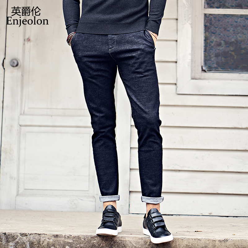 Enjeolon brand top quality long full casual trousers jeans men, cotton clothing males Causal solid black Pants KZ6138