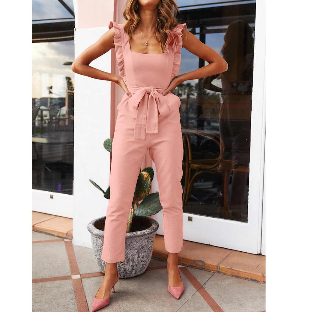 Women's   Jumpsuit   Ladies Shirred Frill Sleeves Pockets Female Solid Ruffle Bow Lace Up Belted Casual   Jumpsuit   Summer Holiday 2019