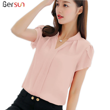 Bersun Women'S Summer Tops  Red White Pink Chiffon  Blouse Shirt Women 2017 Short Sleeve Ladies Office Blouses Plus Size