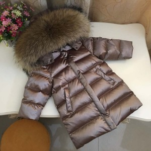 Image 1 - 803 Winter Children Long Jacket Boys 90% White Duck Down Snow Wear Girl Thick Super Large Nature Fur Collar Down Coats Parka