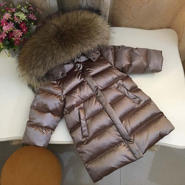 803 Winter Children Long Jacket Boys 90% White Duck Down Snow Wear Girl Thick Super Large Nature Fur Collar Down Coats Parka