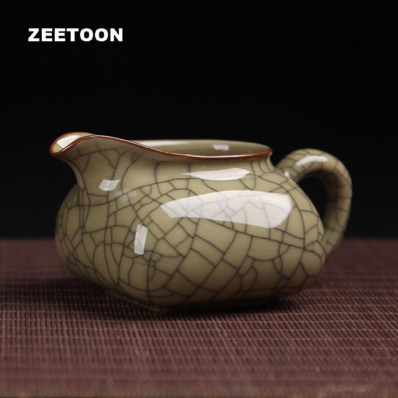 215ml Longquan Celadon Fair Cup Crackle Glaze Fair Mug Kung Fu Tea Set Cha Hai Teaware Tea Sea Coffee Mug Creative Home Decor